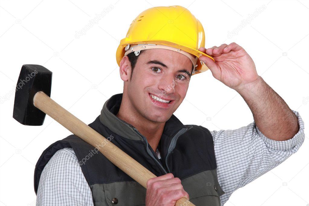фото мужик с кувалдой или дрелью может быть