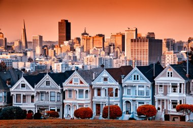 Row of colourful Victorian homes on Steiner Street with the San Francisco skyline behind. stock vector