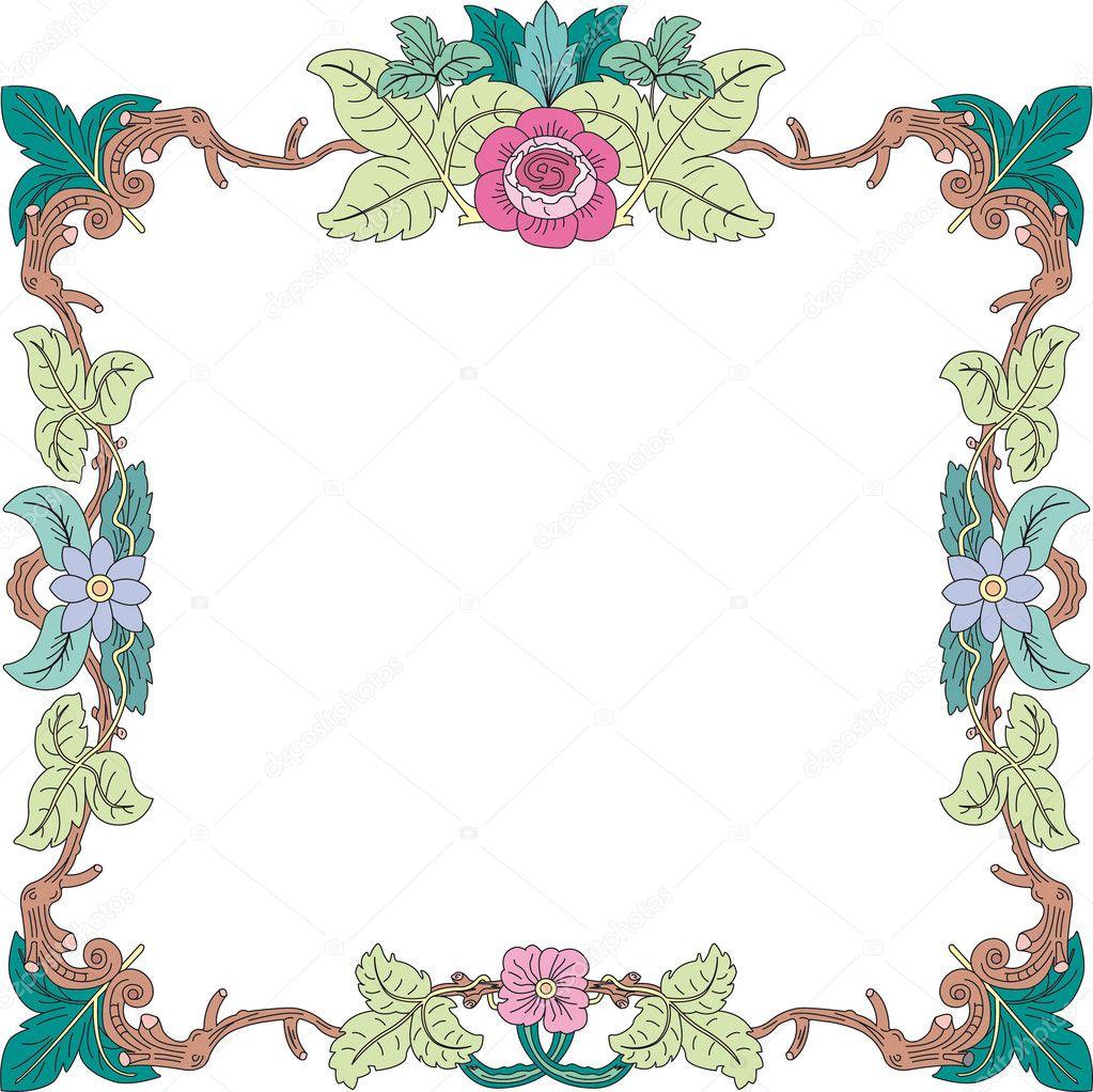 Marco hist rico en colores pastel con adornos florales en - Adornos para fotos gratis ...
