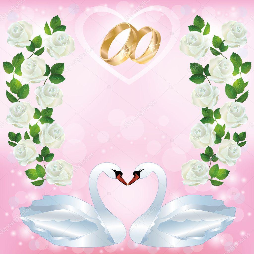 carte de voeux ou d 39 invitation de mariage avec couple de cygnes image vectorielle silvionka. Black Bedroom Furniture Sets. Home Design Ideas