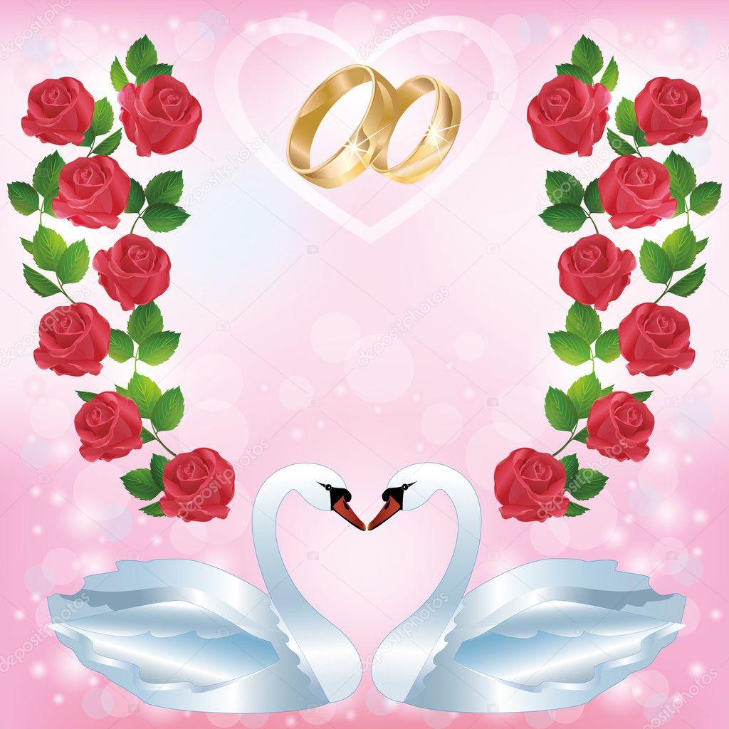 Carte de voeux ou d 39 invitation de mariage avec deux cygnes - Carte de voeux entreprise gratuite a imprimer ...