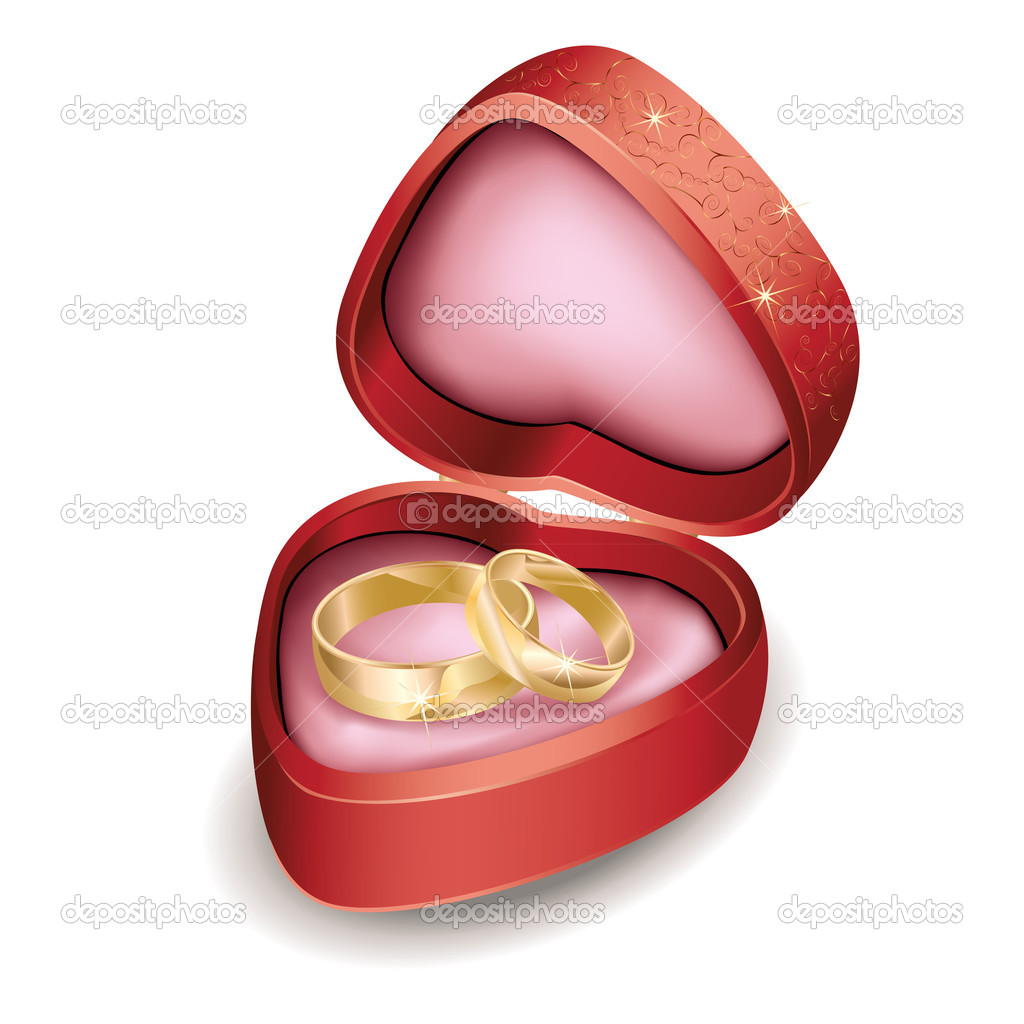 Wedding rings in red box at shape of heart — Stock Vector ...