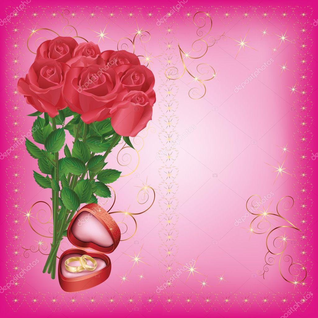 gruß und einladung karte mit rosen und ehering — stockvektor #8739626, Einladung