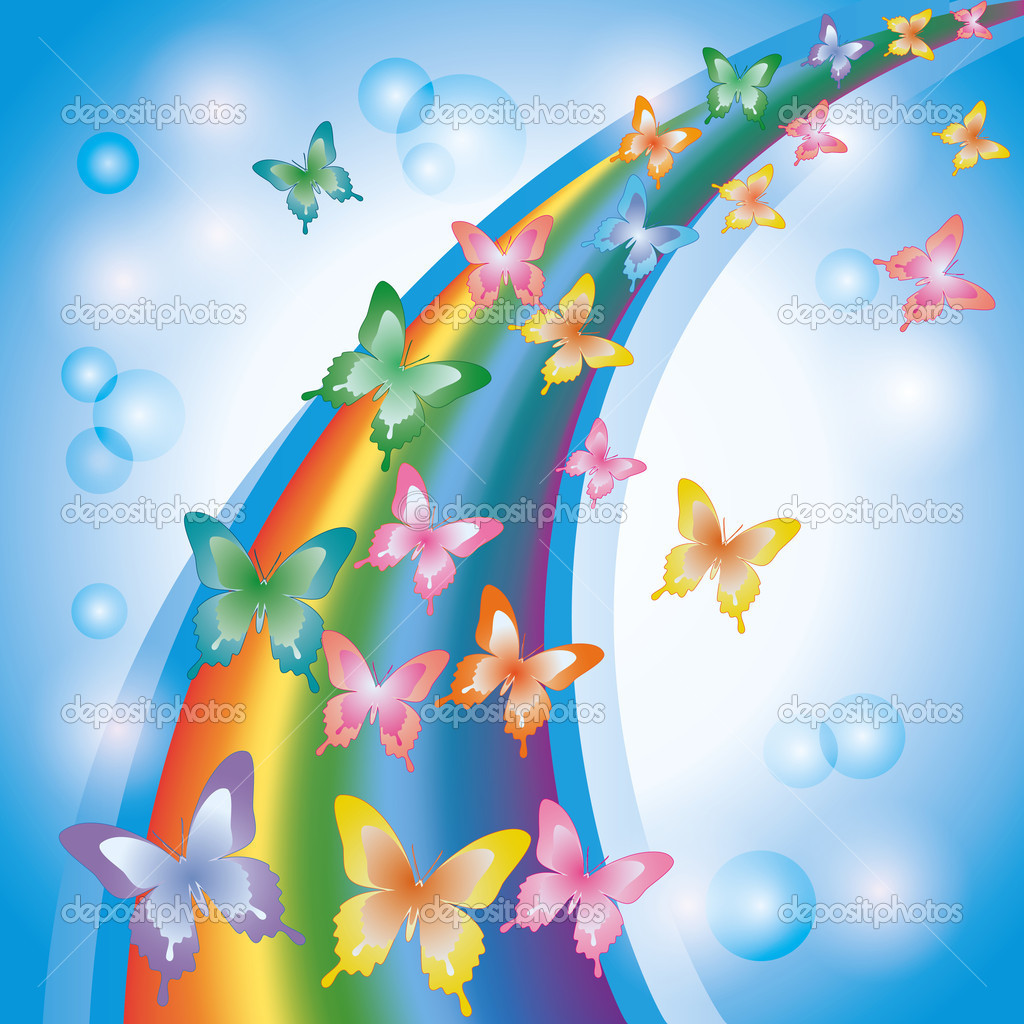 Light colorful background with rainbow and butterflies, decorate