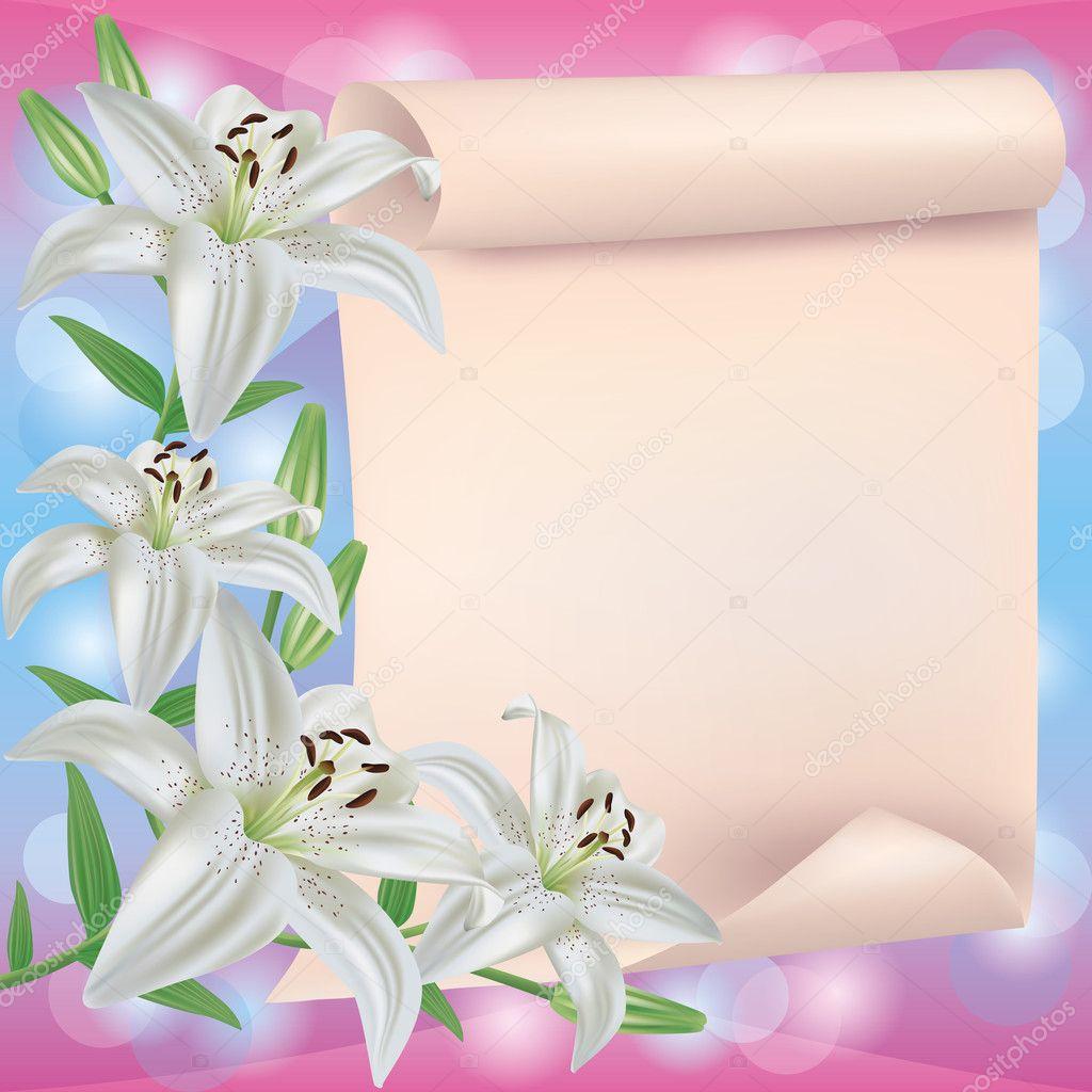 carte de voeux ou d 39 invitation avec la fleur de lys et de papier image vectorielle silvionka. Black Bedroom Furniture Sets. Home Design Ideas