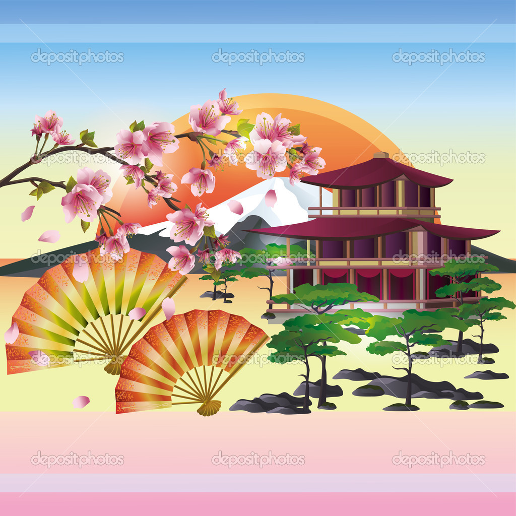 Japanese background with sakura - Japanese cherry tree, vector