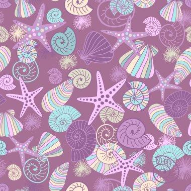 Starfishes and seashells seamless pattern