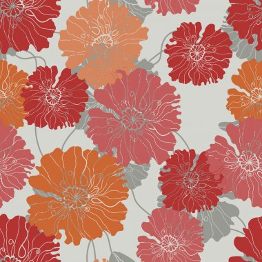 Floral seamless pattern with poppy flowers