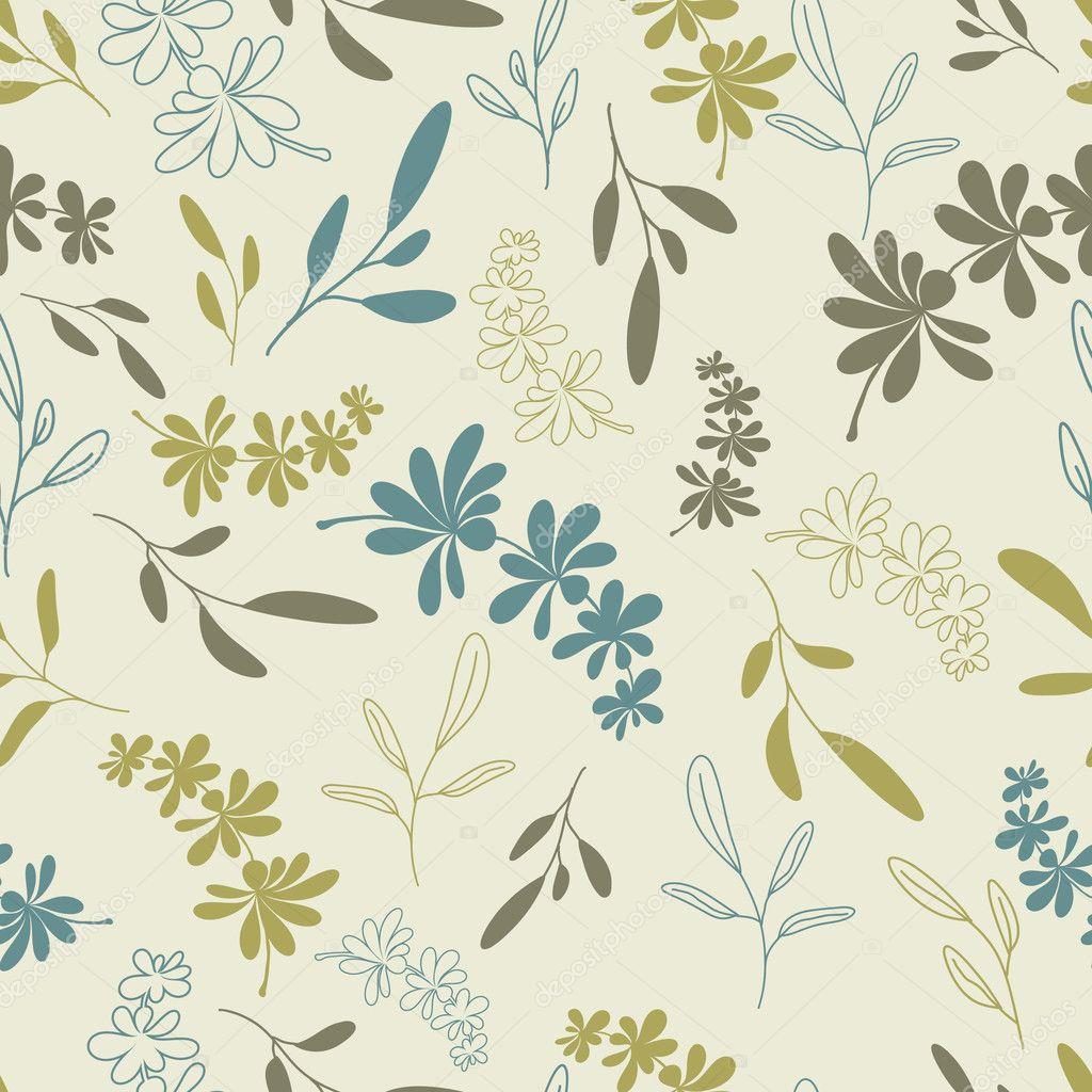 Green twigs seamless pattern