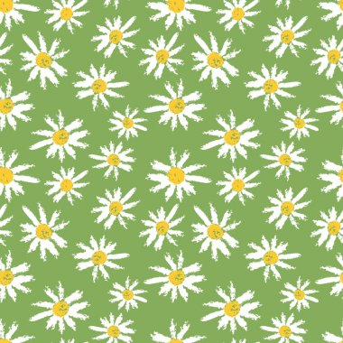 Camomille flowers seamless pattern