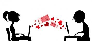 Young couple sending love mail vector clip art vector