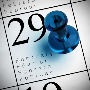 Calendar where it's written february the 29th with a blue thumbtack stock vector
