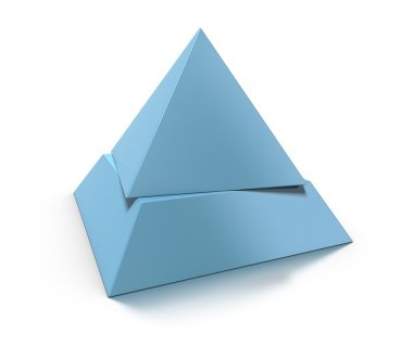 3d pyramid, two levels over white background