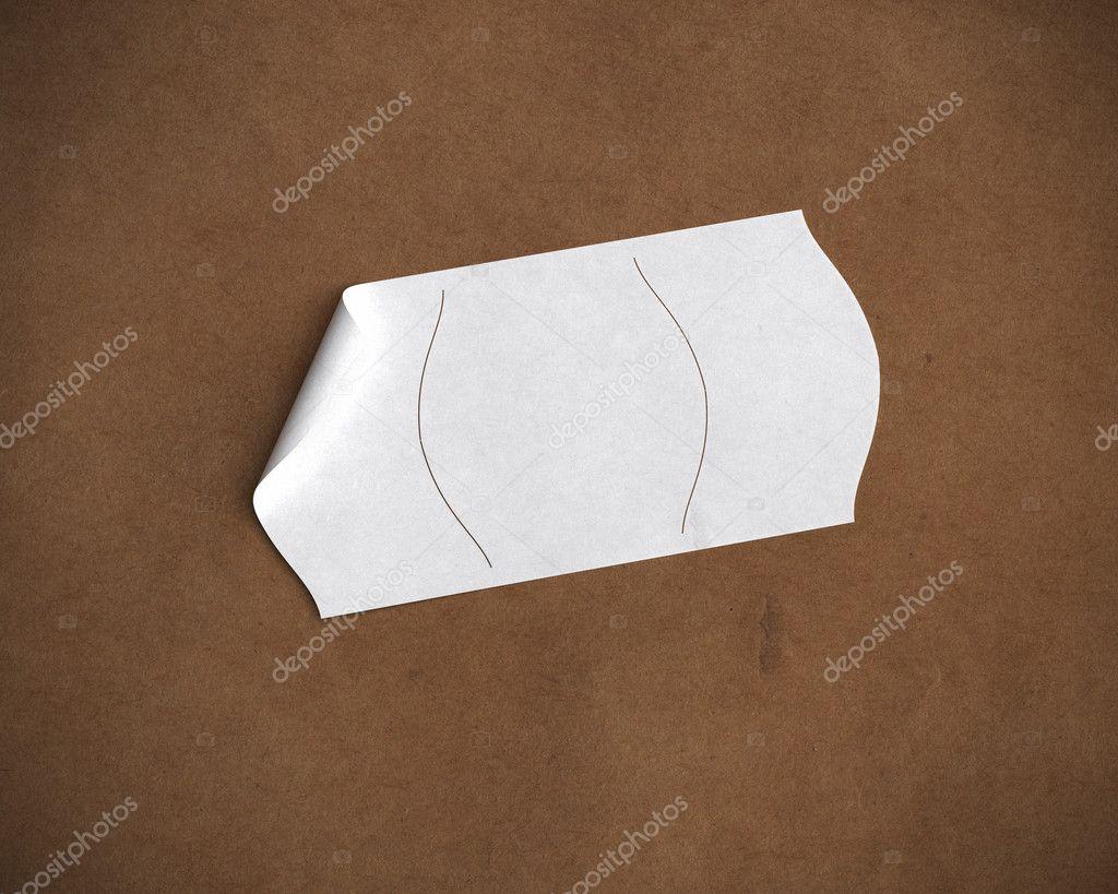 Leeren Preisschild über Recyclingpapier Stockfoto