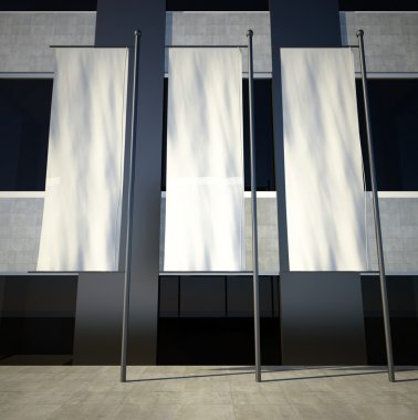 3d blank empty advertising flags on building wall
