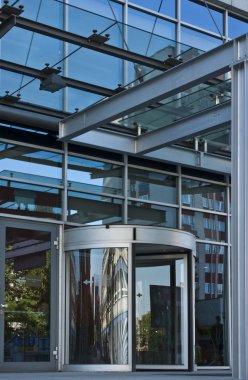 Revolving Door of Entrance of Modern Office Bbuilding
