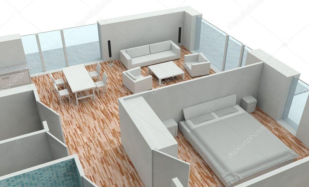 Plan De Maison 3D Rendu — Photographie Leszekglasner © #8017278
