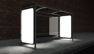 3d Blank billboard on bus stop at night