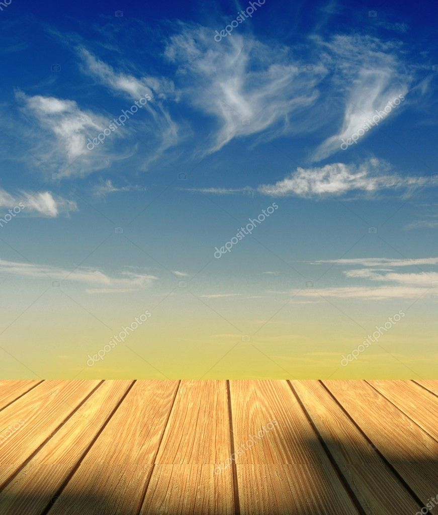 3d sky background and wood floor — Stock Photo