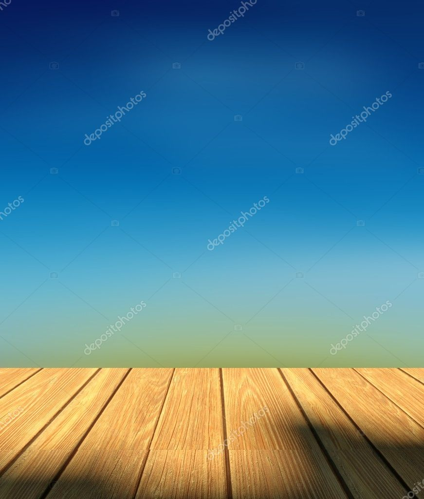Images: 3d sky | 3d sky background and wood floor — Stock