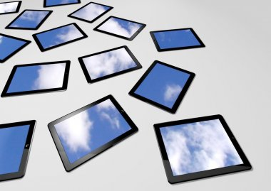 3d tablet pc, sky background on screens