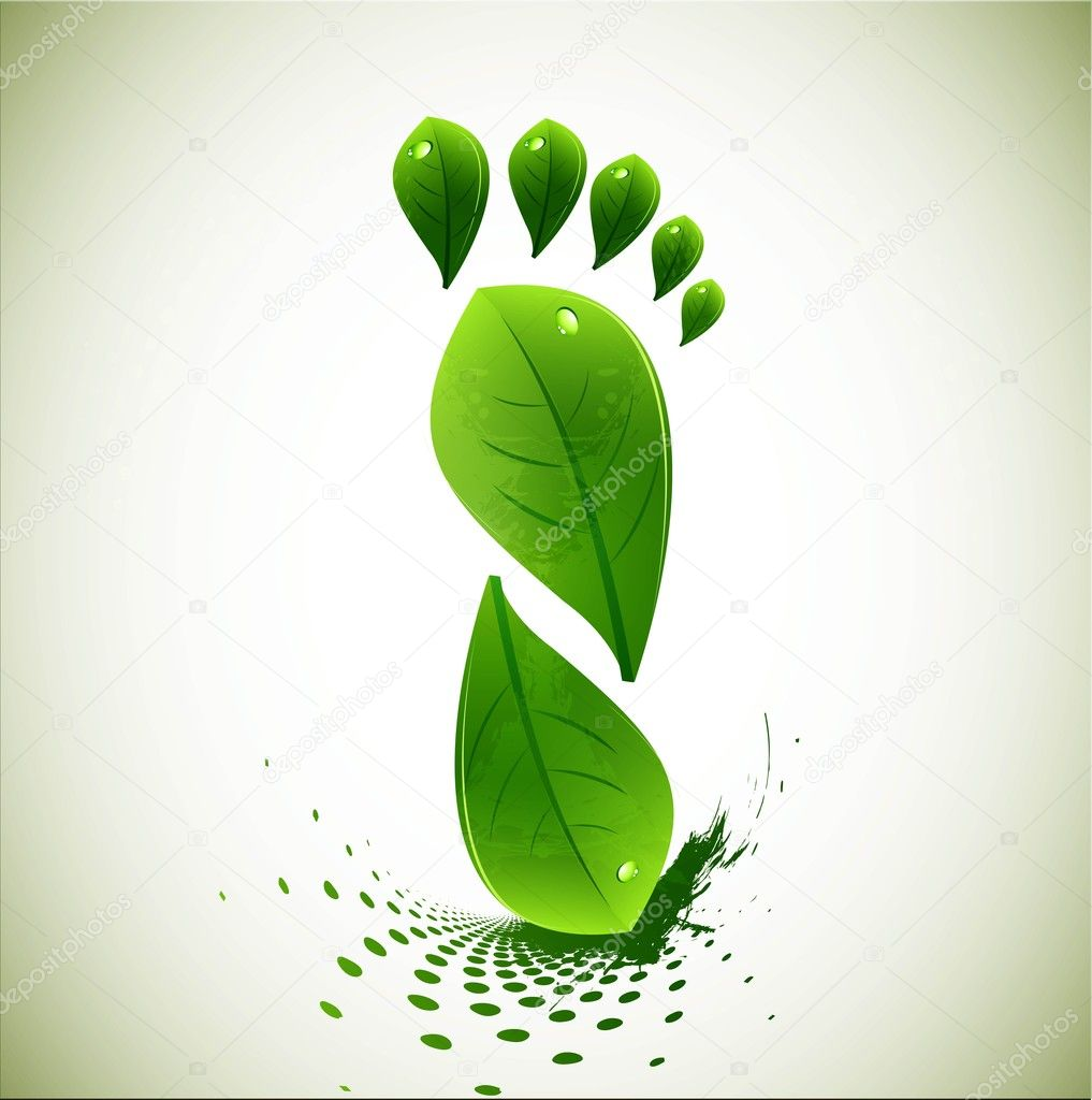 Abstract detailed green lives Foot Print Concept vector