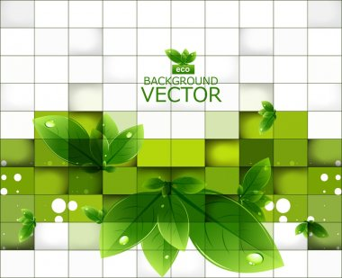Abstract shine green lives mosaic background vector