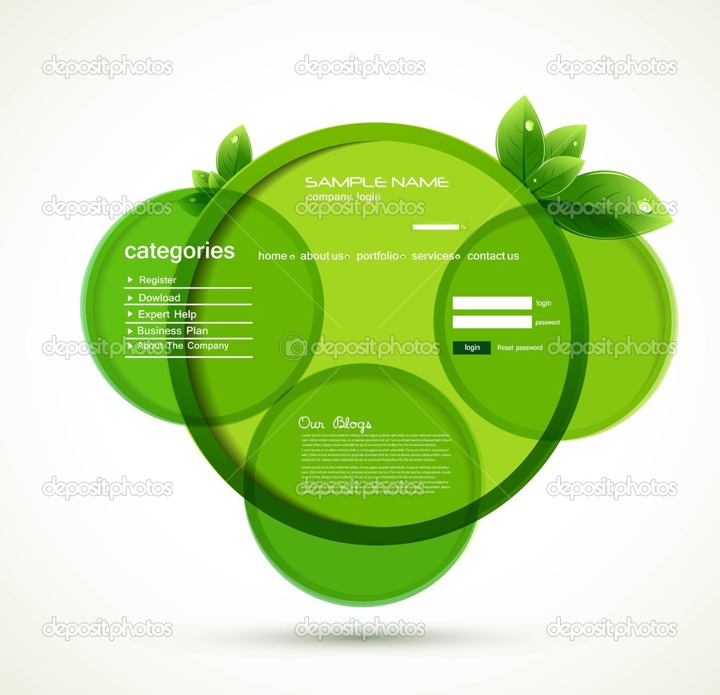 Abstract modern green eco circle web design template