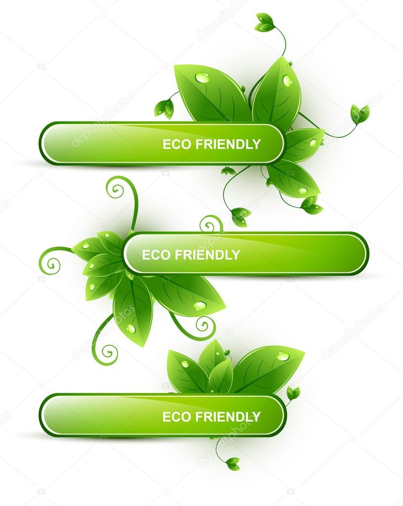 Abstract eco friendly set of headers with three different style