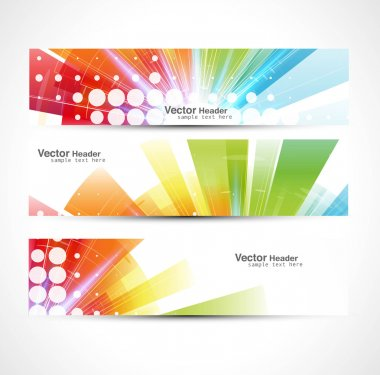 Abstract colorful header rainbow wave set vector