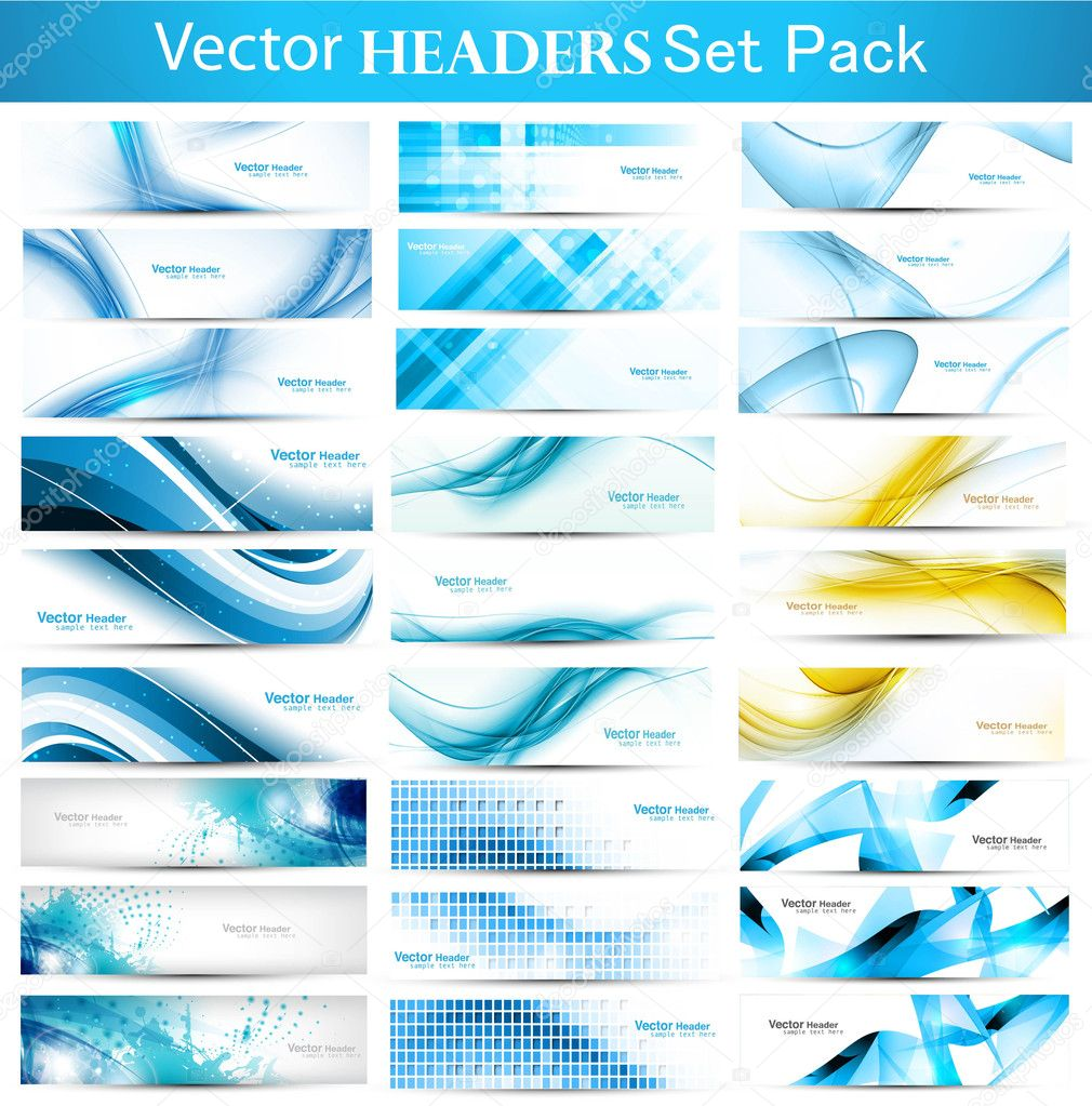 Abstract Collection Horizontal wave headers vector