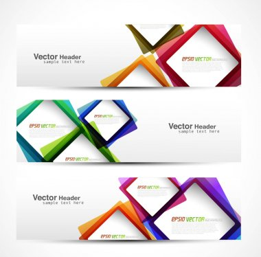 Abstract modern website banner set vector design clip art vector