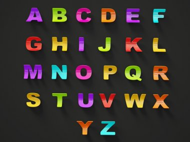 3d alphabet isolated on a black background. stock vector