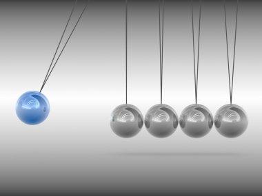 Newton cradle - blue sphere
