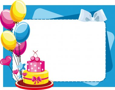 Congratulatory cake with balloons for birthday and holidays