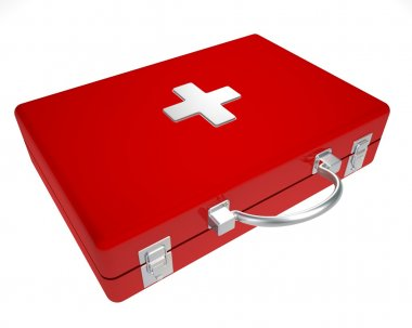 The first-aid set on a white background