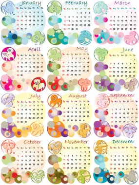 Calendar 2012 with zodiac signs