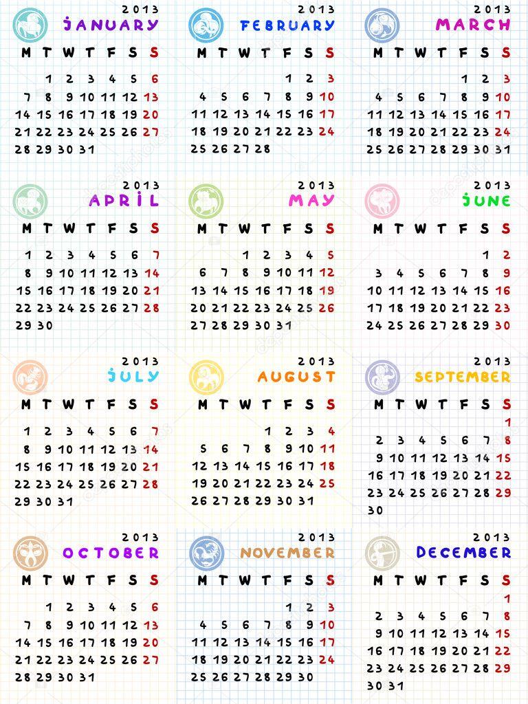 Calendario Segni.Calendario 2013 Con Segni Zodiacali Foto Stock C Richcat