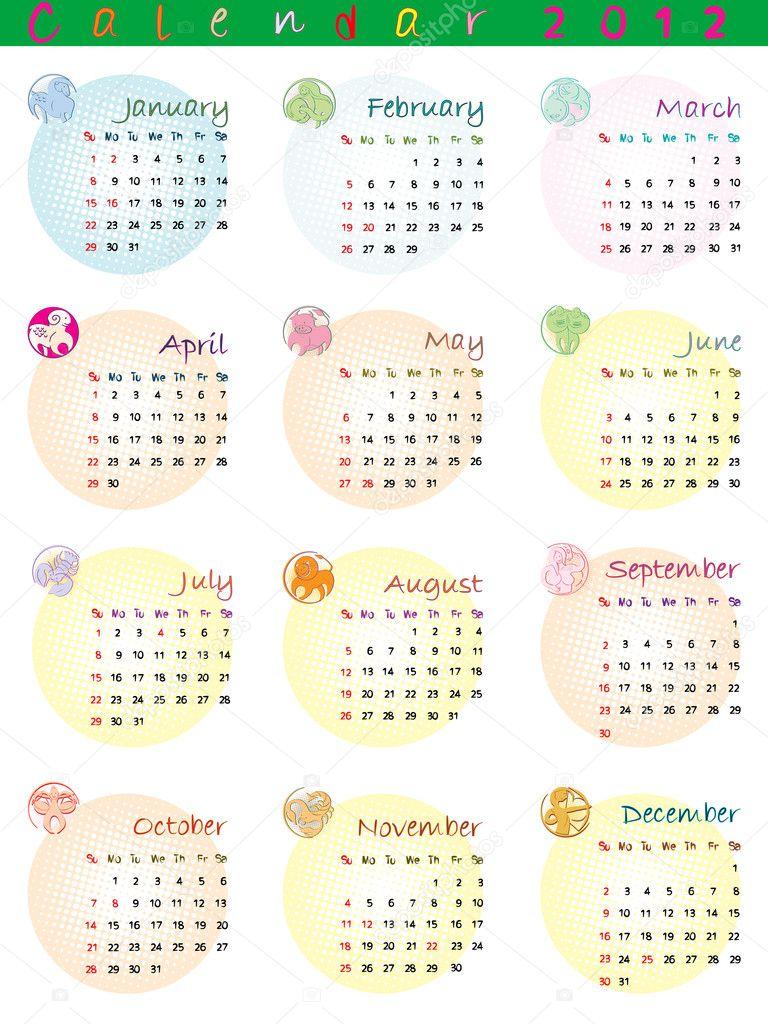 Calendario Segni.Calendario 2012 Con Segni Zodiacali Foto Stock C Richcat
