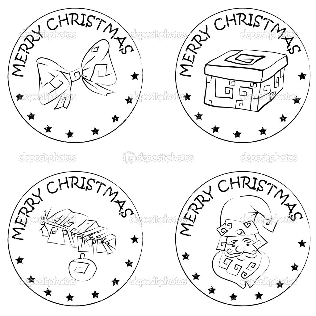 4 christmas coin stamps santa present pine branch bow — Stock Photo ...