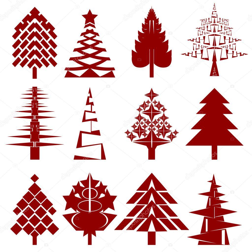cinco plantillas abstracto árbol de Navidad — Fotos de Stock ...