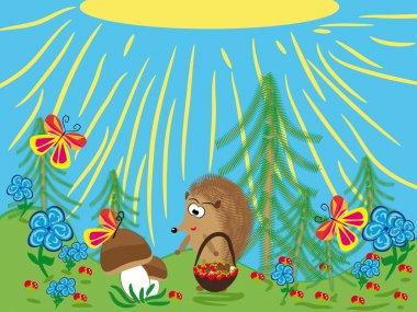 Series: wood friends. Hedgehog