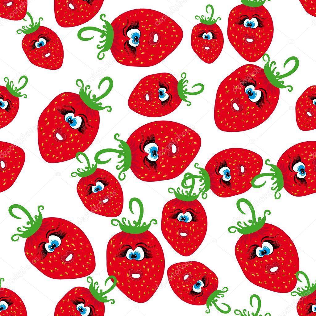 Seamless con fragole animati cartone animato — vettoriali