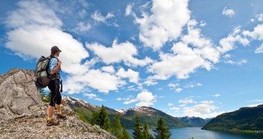 Woman trekking in mountains