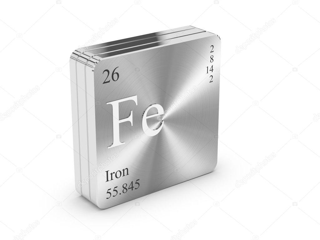 hierro elemento de la tabla peridica en bloque de acero metlico nmero atmico 26 foto de conceptw - Tabla Periodica De Los Elementos Hierro