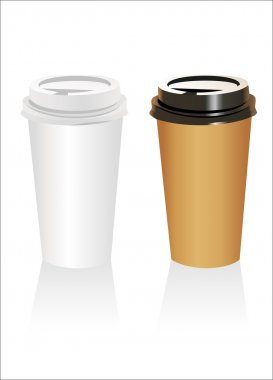 Plastic coffee cup templates over white background