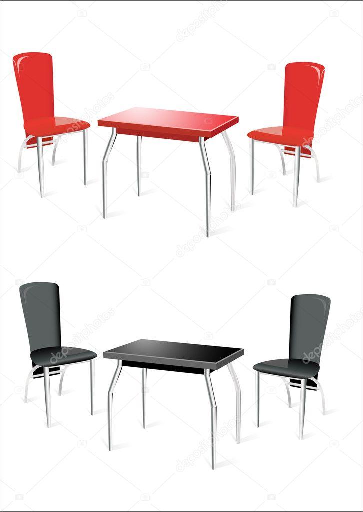 Moderne Witte Stoelen.Achtergrond Stoelen Moderne Tafel Stockvector Twee Op Witte Met