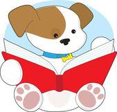 roztomilé štěně čtení