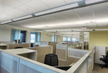 Cubicles in Office Building