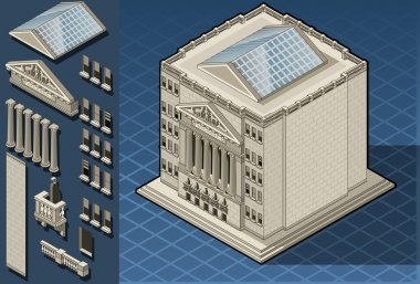 Isometric stock exchange building in new york, wall street